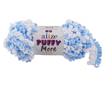 Farbe 6266 hellblau-weiss - Alize Puffy MORE 150g
