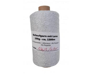 Beilaufgarn mit Lurex - 100g ca. 1300m - Weiss/Silber