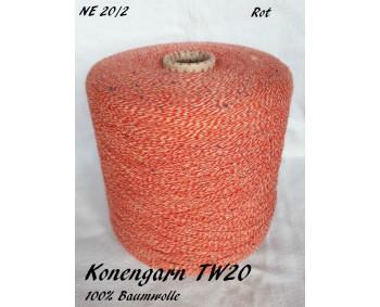 Konengarn TW20 - Rot - 100% Baumwolle Tweed -  ca. 850g