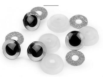 """Sicherheitsaugen """"Glitzer"""" silber rund 20mm - 1 Paar"""