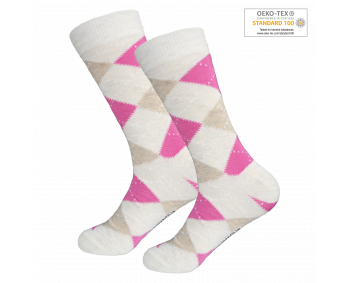 1 Paar modische Socken - kariert - Beige/Pink