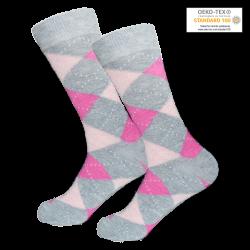 1 Paar modische Socken - kariert - Rosa/Grau