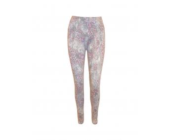 Damenleggins - mit Taschen - Einheitsgröße - Print Rosa-Grau