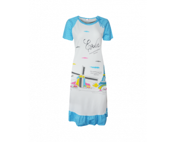 "Nachthemd - Sleepshirt - BigShirt ""MÜHLE"" - Farbe Weiss/Blau"