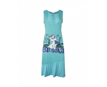 "Nachthemd - Sleepshirt - BigShirt ""Katze"" - Farbe MINTGRÜN"