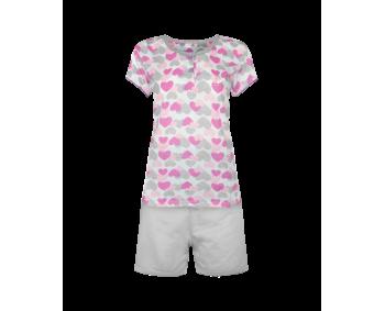 """Pyjama - 2 Teiler kurz - Shorty """"Herz"""" - Farbe GRAU"""