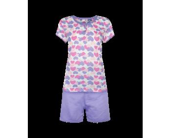 """Pyjama - 2 Teiler kurz - Shorty """"Herz"""" - Farbe LILA"""
