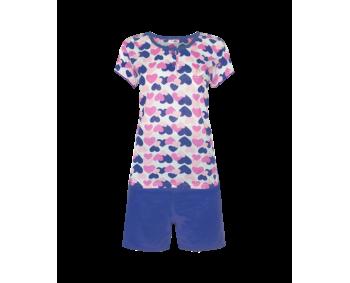 "Pyjama - 2 Teiler kurz - Shorty ""Herz"" - Farbe MARINE"