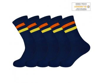 !Sportsocken mit Ringeln 5er Pack Gr. 35-40 - Navy / Orange+Gelb