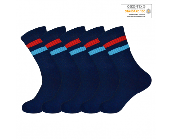 !Sportsocken mit Ringeln 5er Pack Gr. 35-40 - Navy / Rot+Blau