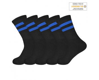!Sportsocken mit Ringeln 5er Pack Gr. 35-40 - Schwarz / Blau
