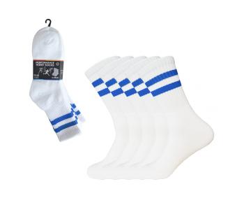 !Sportsocken mit Ringeln 5er Pack Gr. 35-40 - Weiss / Blau