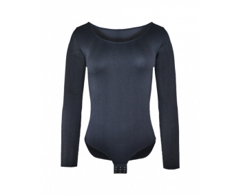 Damen-Body - Schwarz - mit Langarm und Hakenverschluß
