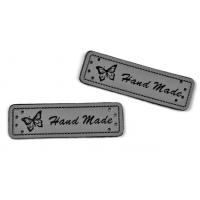 Aufnäher / Verzierung - Handmade - grau - Kunstleder - 5 Stück (0,50€/Stk.)