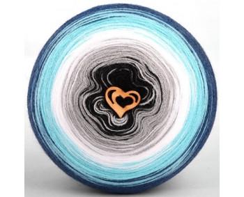 Wolle1000 - Trend Acrylic - Farbe 1001 (Schwarz-Grau-Weiss-Türkis-Jeans) 2000m Bobbel