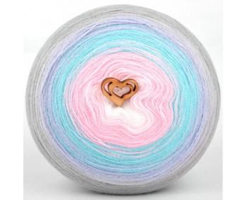 Wolle1000 - Trend Acrylic - Farbe 1003 (Weiss-Rosa-Türkis-Hellblau-Hellgrau) 2000m Bobbel