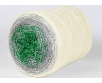 Wolle1000 - Trend Acrylic - Farbe 127 (Grün-Hellgrau-Creme) 2000m Bobbel