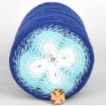 Wolle1000 - Trend Cotton - Farbe 409 (Weiss-Aqua-Blau) 1000m Bobbel