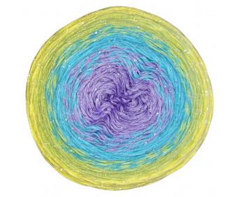 Wolle1000 - Trend CottonLUX - Farbe 8175 (Flieder-Türkis-Grün-Lemon) 900m Bobbel mit Glitzer