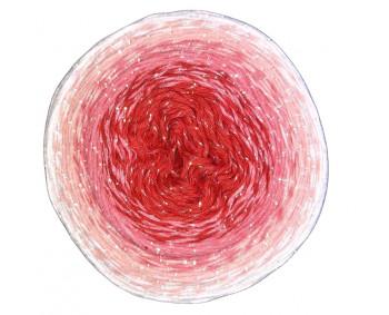 Wolle1000 - Trend CottonLUX - Farbe 8335 (Rot-Lachs-Coralle-Peach) 900m Bobbel mit Glitzer