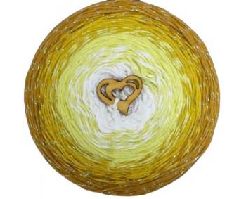 Wolle1000 - Trend CottonLUX - Farbe 8615 (Creme-Vanille-Gelb-Senf) 900m Bobbel mit Glitzer