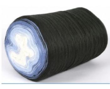 Wolle1000 - Trend Merino - Farbe 514 (Weiss-Hellblau-Blau-Schwarz) 1450m Bobbel