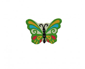 Holzknopf - Schmetterling - 5 Stück  (0,24€/Stk.)